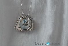 Heart and Stone Jewelry Custom Charm Necklace. Perfect Mother's Day Gift.