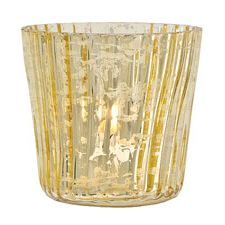 Gold Mercury Glass Candle Holder Wholesale (vertical motif).  3 inches x 3 inches high. Antiqued vintage metallic finish of our mercury glass is reflective and shimmery, enhancing candle light. Not for food use. Also see our matching Mercury Glass Ornaments.