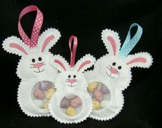 Bunny Candy Cuties are perfect for Easter Basket stuffers! This in the hoop embroidery design is made with felt and vinyl so the treats show through the bunny's belly for a fun Easter toy. A flap on the back holds the candy inside.