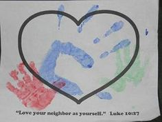 have the children put their hand print on their own sheet and then pass it to the child on their right to put their hand print. Continue this until the children get their original sheet back. Bible Study Crafts, Prayer Crafts, Bible Activities For Kids, Bible Crafts For Kids, Bible Lessons For Kids, Vbs Crafts, Bible For Kids, Good Samaritan Bible Story, Good Samaritan Craft