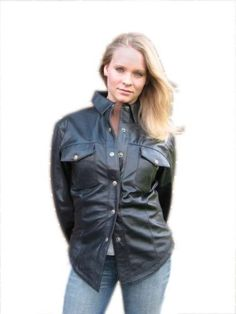 Womens Lightweight Black Leather Western Motorcycle Shirt - Leatherbull(Free U.S. Shipping) Leatherbull. $74.99. Genuine Sheepskin leather. Snap sleeve cuffs. Snap-up front. Two front pockets. Soft and Durable. Full polyester lining