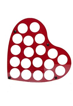 Chip Frame Acrylic Heart | Chip Cases And Racks Heart-shaped red acrylic chip frame holding 19 chips with attached hooks for hanging. Both sides viewable. $19.99 www.gamblersgeneralstore.com