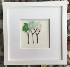 Unique Gift Pebble Art x Genuine Sea Glass Trees Modern Wall Art Abstract Contemporary Signed Unique Gift Pebble Art 9 x 9 Genuine Sea Glass Sea Glass Beach, Sea Glass Art, Stained Glass Art, Sea Glass Crafts, Seashell Crafts, Broken Glass Art, Glass Art Pictures, Pebble Art, Stone Art