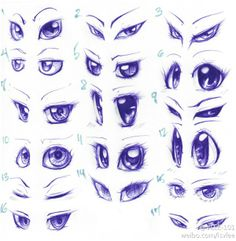 Different Eye Shapes & Looks Reference Sheet. This sheet features a very interesting style of drawing.