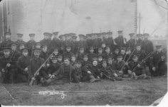 B Coy 10 RWF in Trg Barrosa Bks, Stanhope Lines, Aldershot Jun-Sep from right Pte Varley who was wounded at Faviere Wood, near Hardecourt-Aux-Bois Aug Far Left, front Row Possibly Pte Albert Hill VC? World War One, First World, Battle Of The Somme, War Image, Wwi, Old Pictures, Black Watches, Africans, History