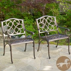 Christopher Knight Home McKinley Cast Aluminum Bronze Outdoor Chairs (Set of 2) | Overstock.com Shopping - Big Discounts on Christopher Knight Home Sofas, Chairs & Sectionals