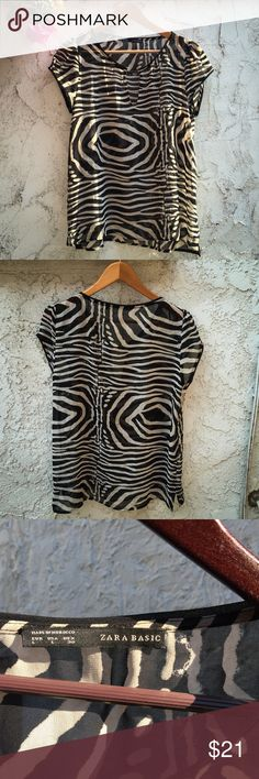 Zara Zebra Striped Sheer Top This is on-trend and so cute. Great versatile piece. Has short sleeves. Office appropriate with a tank or cami under it; going-out or sexier with a bralette/etc. (You know what to do here). Zara Tops Tees - Short Sleeve
