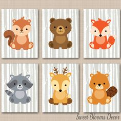 Woodland Nursery DecorWoodland Nursery Wall by SweetBloomsDecor Woodland Creatures Nursery, Woodland Baby Nursery, Baby Girl Nursery Themes, Nursery Wall Art, Nature Themed Nursery, Babies Nursery, Nursery Prints, Deer Wall Art, Forest Animals