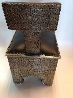 Moroccan Stool Bench in Traditional Carved Metal Arabic Style Black Leather Top #Handmade #Moroccan