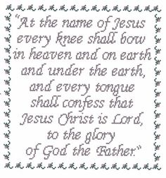 At the Name  Bible Verse Cross Stitch Pattern by flowergardens, $3.00