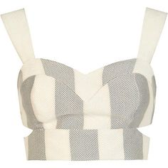 Grey and white stripe cut out bralet - crop tops / bralets / bandeau tops - tops - women