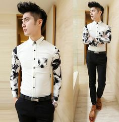 c0da03531 2014 Unique Floral Splicing Men Design Shirts Slim Asian Mens Clothing Cool  Shirts $26.00