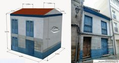 Blue House In Galicia Paper Model - by Edifícios De Papel - == -   From Spanish website Edifícios De Papel, here is a nice building for Dioramas, RPG and Wargames. The model is available in 6 different scales: 1/56 scale(28mm), 1/72 scale, HO scale (1/87), 1/100 scale (15mm), N scale (1/160) and Z scale (1/220). This little house is based in a real building from Galicia, in Spain.