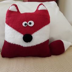 """From """"Fox Cushion"""" knitting pattern by Amanda Berry. I used two shades of red instead of the orange and red called for in the pattern. Shades Of Red, Knits, Berry, Amanda, Knitting Patterns, Fox, Cushions, Throw Pillows, Orange"""