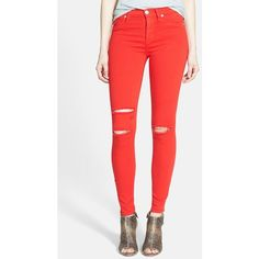 Hudson Jeans 'Nico' Shredded Ankle Jeans ($124) ❤ liked on Polyvore