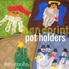 the third boob: diy: christmas hand print pot holders (childrens christmas crafts for parents) Diy Christmas Gifts For Parents, Diy Christmas Presents, Teacher Christmas Gifts, Christmas Diy, Christmas Projects, White Christmas, Christmas Decorations, Christmas Crafts For Toddlers, Toddler Christmas