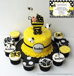 Bumble Bee Baby Shower Cake and Cupcakes by Angela Tran (Sugar Sweet Cakes & Treats) - yellow, black and white