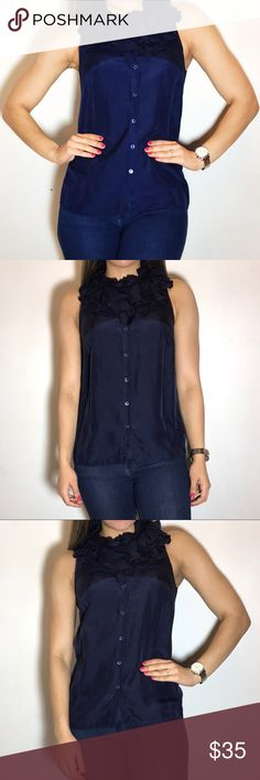 J. Crew Ruffle Silk Blouse J. Crew Ruffle Silk Blouse.  -Size 4. -Navy Blue. -100% silk -Excellent condition.  NO Trades. Please make all offers through offer button. J. Crew Tops Blouses