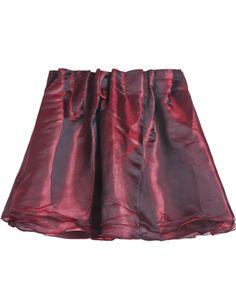 Wine Red Elastic Waist Organza Pleated Skirt US$16.17