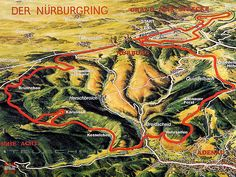 Illustration of the 20 km long Nordschleife and the 5 km long Grand Prix Circuit. A racetrack with villages inside of it!