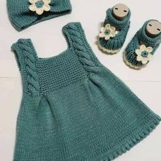 Knit Baby Dress, Knitted Baby Clothes, Baby Knits, Baby Cardigan Knitting Pattern, Baby Knitting Patterns, Knitting Baby Girl, Baby Outfits, Kids Outfits, Baby Dress Patterns