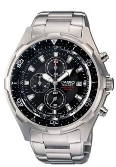 Casio Mens AMW330D-1AV Dive Chronograph Stainless Steel Watch