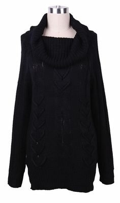 Black+Turtleneck+Mulit+Cable+Knit+Ribbed+Long+Sweater+US$32.00