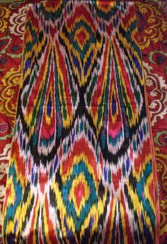 handmade uzbek silk (warp) ikat.