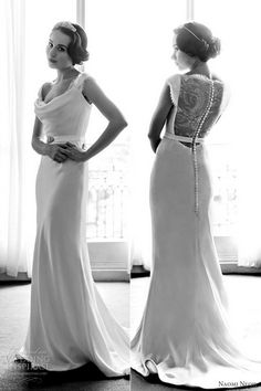 """Portrait Back Wedding Dresses & Gowns - From Claire Pettibone's 2012-2013 bridal collection, Love Letters, this Naomi Neoh """"Beatrix"""" cowl neck silk crepe 1930s-inspired wedding gown stands out with its delicate French Chantilly lace panel back and small silk buttons."""