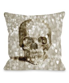 Loving Skull Hearts Throw Pillow