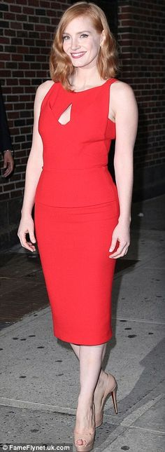 Lookalikes: Jessica Chastain was easier to tell apart from Bryce Dallas Howard when she wore a different coloured dress like on Friday in New York