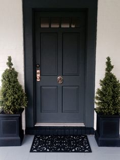 Front door painted in Farrow & Ball Down Pipe