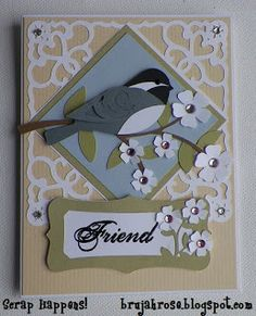 "Bird card ---used the ""Art Philosophy"" Cricut Cartridge to create this card ... lovely!!"