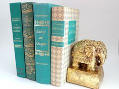 Green and Gold Decorative Book Collection Instant by Bellabalou, $28.00