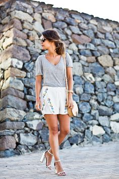 simple outfit with floral embroidered shorts