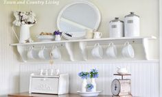 Cup holding white shelf