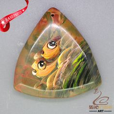 Hand Painted fish Necklace Pendant   Natural Gemstone   ZL806367 #ZL #Pendant