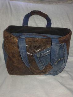 Sac à main jeans et tissu effet vieux cuir : Sacs à main par 1nanas-creations