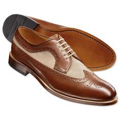 Brown and beige Ryder co-respondent shoes | Men's casual shoes from Charles Tyrwhitt, Jermyn Street, London