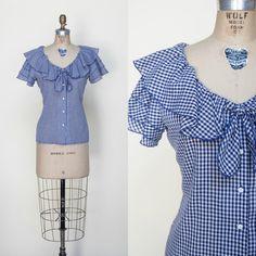 1970s Blouse / Vintage Navy Gingham Top | Etsy Ruffle Collar, Ruffle Sleeve, Ruffle Blouse, 1970s Dresses, Vintage Dresses, Blouse Vintage, Vintage Tops, Boho Wedding Dress, Boho Dress