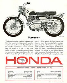 Vintage Brochures: Honda Scrambler 1964 (Usa) Vintage Brochures: Honda Scrambler 1964 (Usa) Vintage Brochures: Honda Scrambler 1964 (Usa) List the 2019 Honda Motorcycle Models, see all. Honda Scrambler, Cafe Racer Honda, Scrambler Motorcycle, Honda Cycles, Honda Bikes, Classic Honda Motorcycles, Vintage Motorcycles, Kawasaki Motorcycles, Vintage Posters