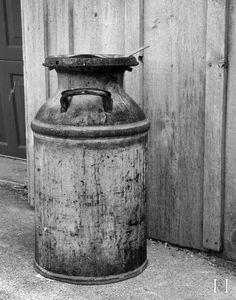 Portage - Indiana - Old Milk Jug - Black and White