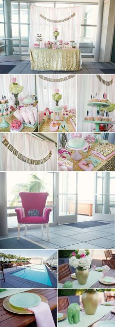 Love the material tied hanging behind table for backdrop.. A lot shorter maybe in shades of coral or turquoise.. Then have mostly white poms & few colored poms..