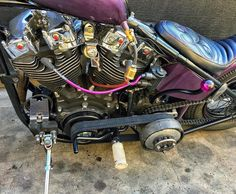 Seven Sins Choppers Custom Spark Plug Wires. #Repost @k_bosch Barny got a open belt and suicide shift ! So pumped to rip it ! @roostermachine thanks for squeezing me in dude #sevensinschoppers #sparkplug #purple #ignition #harleydavidson #hotrod #purplehaze
