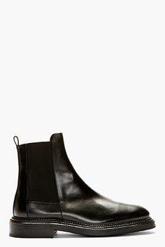 Yang Li Black Leather Paneled Chelsea Boot for women | SSENSE