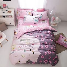 EsyDream Lovely girl bedding no quilt 100% Cotton Queen Full Size Kids Cartoon Duvet Cover Sets,Beauty Woman Pink Bedlinen Sets //Price: $47.26 & FREE Shipping // #bedding sets
