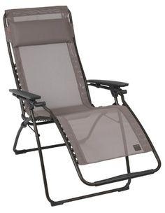 Lafuma LFM3062-6456 Relax-Liegestuhl, klappbar und verstellbar, Futura, ecorce grau Lafuma