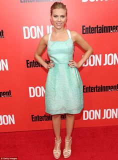 Glowing: Scarlett Johansson lit up the red carpet at the New York premiere of Don Jon, on Thursday night