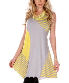 Yellow & Gray Stripe Sleeveless Tunic by Lily on #zulily!  It's $27.99, down from $96.00!!!  <3<3<3