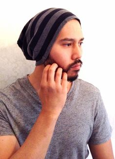 Slouch Mens Beanie Hat Men Clothes sporty  Black by MissTopKnot, $25.00
